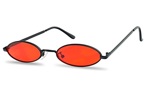 Ultra Small Oval Vintage Sun Glasses Slim Retro Steampunk Slender Candy Color Tinted Shades (Black Frame | Red)