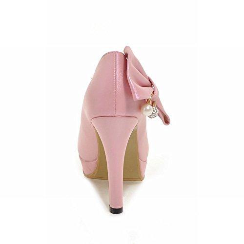 Carolbar Womens Bows Sweet Pointed Toe Beaded Bridal High Heels Pumps Shoes Pink OOH369