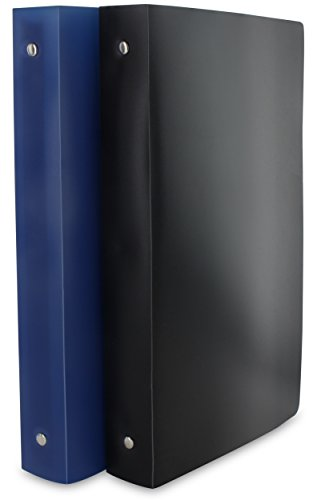 Emraw Heavy-Duty 3-Ring Binder 1-Inch – Used for Papers, Loose-Leafs, Business Cards, Compact Discs, Etc. Colors Included: Black & Blue. 2-Pack