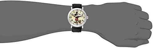 Disney Men 56109 Vintage Mickey Mouse Watch with Black Leather Band