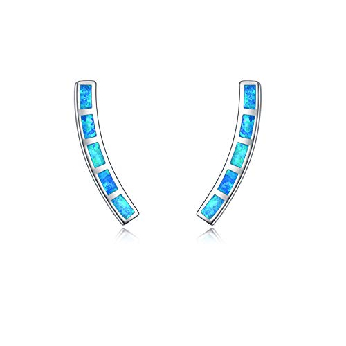 - WINNICACA Blue Opal Earrings Sterling Silver Bar Climber Crawler Cuff Earrings for Women Girls Gifts Jewelry