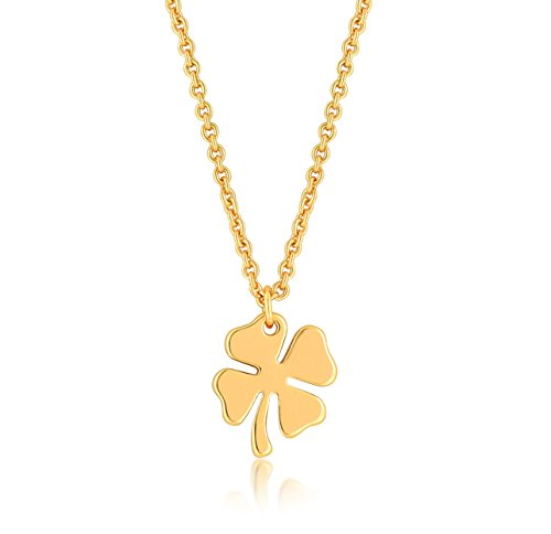 (ESCALIE Four Leaf Clover Necklace, Clover Necklace Charm, 24K Gold Plated)