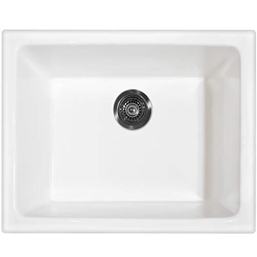 Fine Fixtures' FC2418UW Single Bowl Undermount Fireclay Kitchen Sink - White. (24 ()