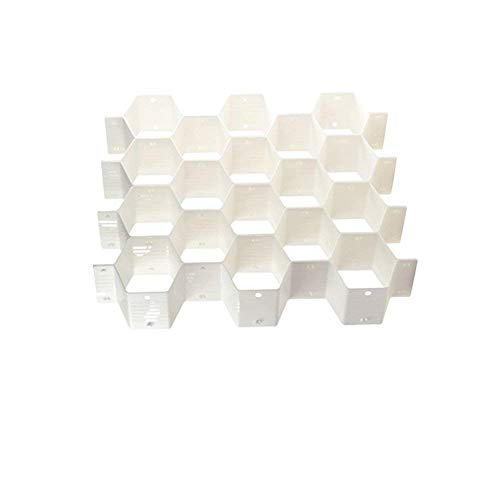 Onerbuy 8pcs DIY Honeycomb Closet Organizer Drawer Dividers Plastic Partition Cabinet Clapboard Storage Boxes for Underwear Socks Bras Ties Belts Scarves and Makeup