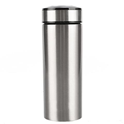 J&P Home Stainless Steel Insulated Tea Travel Mug With Leak Proof, 14 Ounce/0.43 Liter, Silver