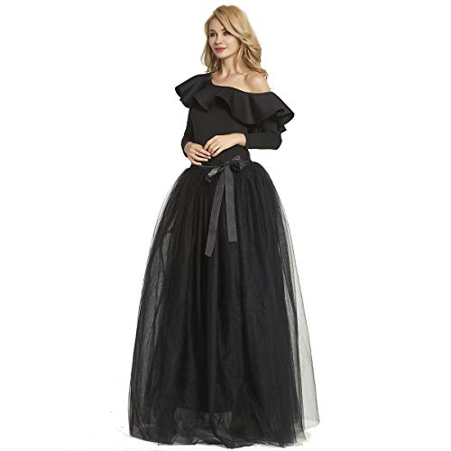 Womens Floor Length Bowknot Tulle Party Evening Skirt Princess A Line Layered Long Tutu -