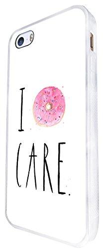 370 - I Don'T Care Doughnut Design iphone SE - 2016 Coque Fashion Trend Case Coque Protection Cover plastique et métal - Blanc