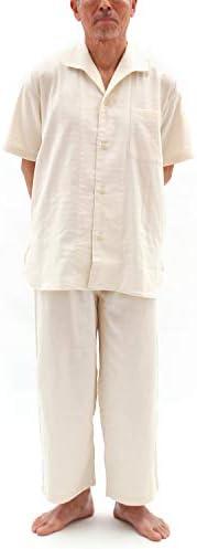 パジャマ 半袖 前開き ストレッチ 二重 ガーゼ メンズ/エクリュアイボリー・Lサイズ