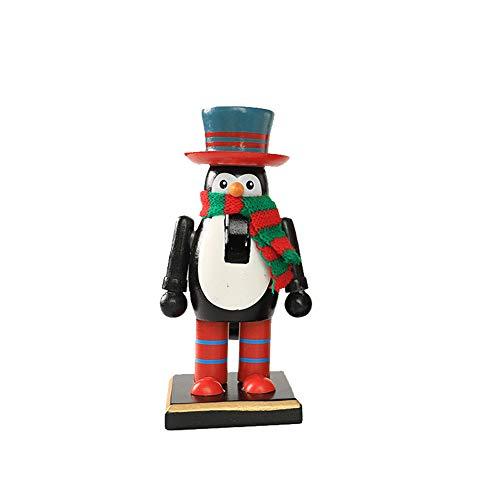Wintefei Xmas Decor Gift Snowman Penguin Santa Claus Wooden Toy Nutcracker Xmas Home Decor Penguin#