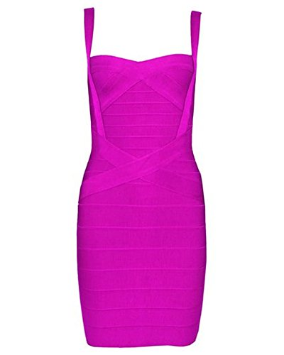 UONBOX Women's Rayon Cute Sleeveless Bodycon Bandage Strap Dress (XL, Fuchsia)