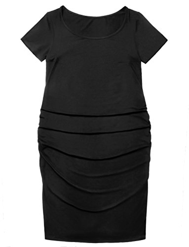 GINKANA Maternity Bodycon Dress Short Sleeves Ruched Sides Knee Length Pregnancy Dress