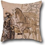Throw Pillow Covers Of Oil Painting Paul Sandby - A Carriage And Pair, With Coachman,for Sofa,club,dining Room,drawing Room,saloon,bar 20 X 20 Inches / 50 By 50 Cm(each Side)