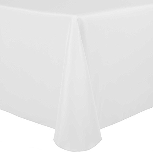 Oval White Tablecloth - Ultimate Textile 60 x 84-Inch Oval Polyester Linen Tablecloth White