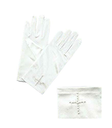 First Communion White Satin Gloves with Beaded Cross -