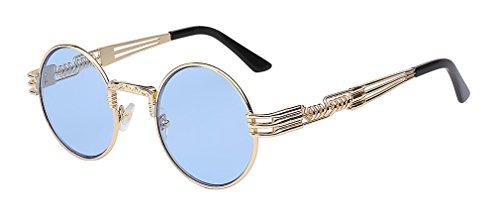 Lens Sea Blue hommes revêtement de en Lunettes Haoling métal steampunk soleil soleil rond de W lunettes vintage Gold lunettes rétro XfwHU