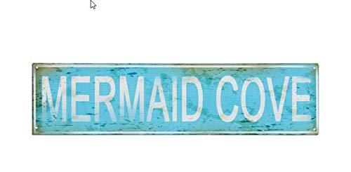 (OHIO WHOLESALE, INC. Mermaid Cove Metal Tin Sign   Mermaid Beach Home Decor Wall Art   4 x 16 Inch)