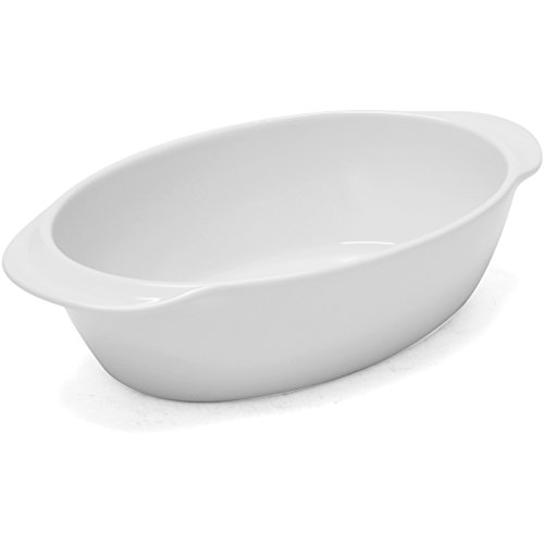 - Chantal 93A-OV26T 10 by 7 by 2.75-Inch Oval Baking Dish, Small, Glossy White