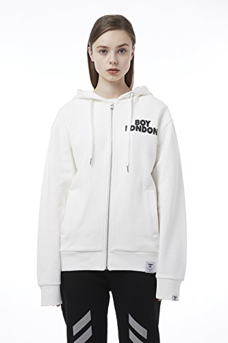 BOY London Unisex (S,M,L,XL) 18SS Zip Up Hoodie - Black,White,Grey New_(BH1TC159) (White, XLarge) by BOY London