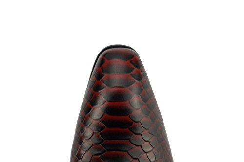 Da uomo in vera pelle rosso nero effetto serpente, con lacci Derby Gatsby