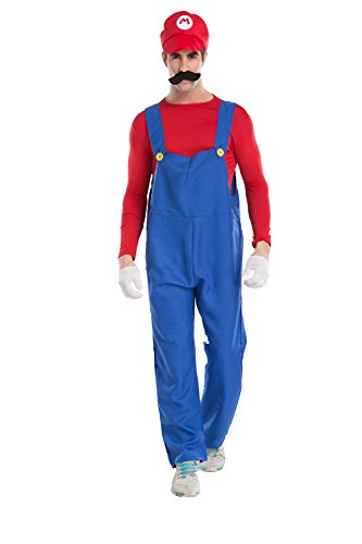 Dawafa Men's Super Mario Brothers Deluxe Luigi Costume Red (Super Mario Costume For Men)