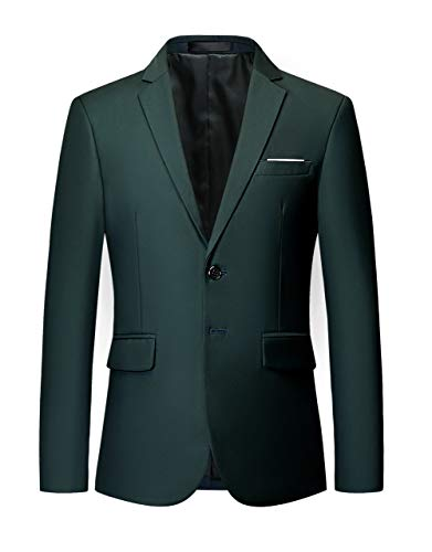 MOGU Mens Suit Jacket Slim Fit Single Breasted Two Button 10 Colors US 40 Asian 4XL Dark ()