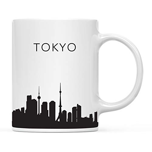 Andaz Press 11oz. Tourist Travel Souvenir Coffee Mug Gift, Tokyo Japan Skyline, 1-Pack, Christmas Birthday Moving Away Study Abroad Graduation Bon Voyage, Includes Gift Box