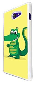 1141 - Cute Fun Crocodile Animal Drawing Yellow Design For Sony Xperia M2 Fashion Trend CASE Back COVER Plastic&Thin Metal - White