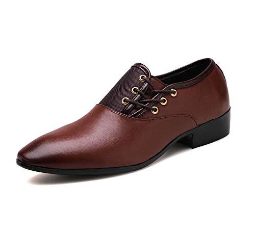 HYLFF Men Leather Chelsea Martin Ankle Boots Dealer Dress Shoes Winter Black Waterproof Short Ankle Rain Shoes,Brown,47EU ()