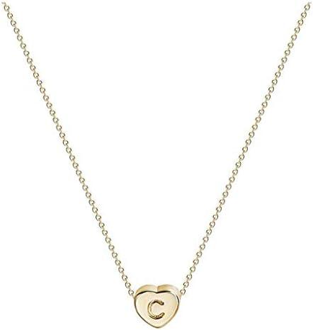 [해외]Minikoad Titanium Steel Heart Letter Necklace for Women Valentine`s Day Jewelry Gifts 26 Letters Love Neck Chain Best for Girlfriend Mother Day Birthday Wedding Present (C) / Minikoad Titanium Steel Heart Letter Necklace for Women ...