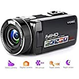 Camcorder Digital Camera Full HD 1080p 18X Digital Zoom Night Vision Pause Function