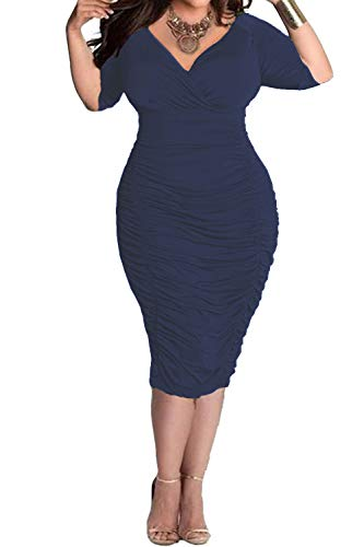 - POSESHE Womens Plus Size Deep V Neck Wrap Ruched Waisted Bodycon Dress (4 Plus, Dark Blue)
