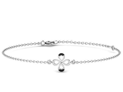 Or Blanc 14 ct Bracelet Diamant en forme de fleur, 0.03 Ct Diamant, GH-SI, 1.56 grammes.