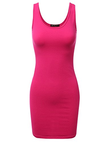 - Doublju Women's Basic Scoop Neck Sleeveless Bodycon Mini Tank Dress Fuchsia S