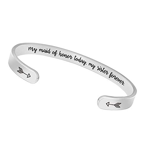 Bangle Bracelets Birthday Gifts for Women Men Inspirational Cuff Bangle Personalized Mantra with Gift Box (My Maid of Honor Today,My Sister Forever)