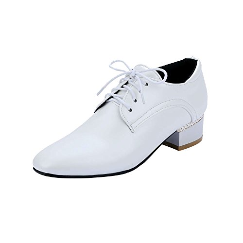 Carolbar Womens Lace up Fashion Square Toe Comfort Chunky Mid Heel Oxfords Shoes White M4NDe9