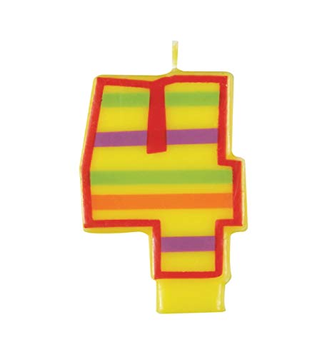 Decorative Striped Number 4 Birthday Candle
