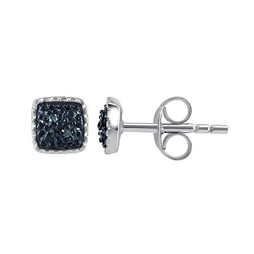 Pipa Bella Blue Diamond Earrings for Women in 925 Sterling Silver I-J Color, I2-I3 Clarity Stud Real Diamond Accent Square - Diamond Square Accent Earrings