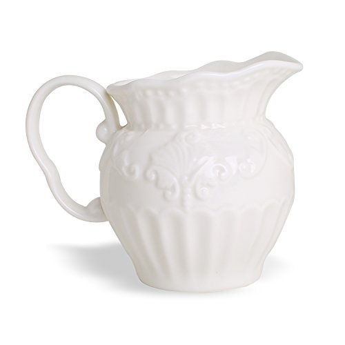 White Creamer Pitcher (Embossed Stripe 12-Ounce Creamer, Porcelain White Milk Syrup Server with Handle)