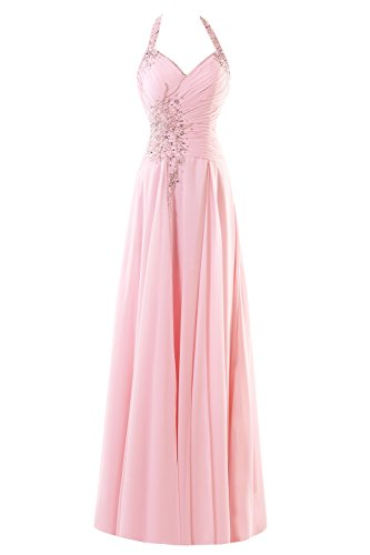 Bess Bridal Women's A Line Halter Beads Long Chiffon Prom Dresses 2017 Blushing Pink