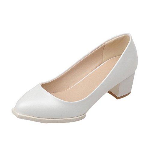 Puro AgooLar Luccichio Tirare Ballet Tacco Tonda Medio Punta Bianco Donna Flats c00PEqR