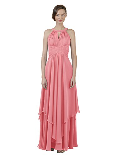 Gown Line Dress Evening Coral Long Pink Party A Bridesmaid Alicepub Prom Jewel Dress Chiffon qBYxgz