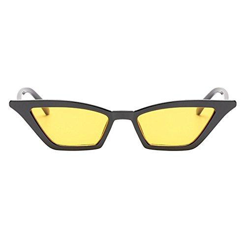 Œil Hzjundasi amp; Pour petit De Lunettes Femmes Chat Lens Classique Cadre Chiffon Extérieur Plastique Mode Uv400 Frame etui Noir Soleil Jaune Style Eyewear txXnfX0