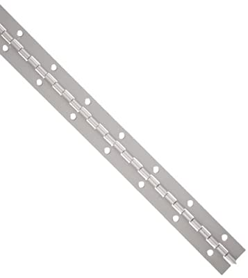 "Aluminum 3003 Continuous Hinge with Holes, Clear Anodized Finish, 0.06"" Leaf Thickness, 2"" Open Width, 1/8"" Pin Diameter, 1/2"" Knuckle Length, 1' Long (Pack of 1)"