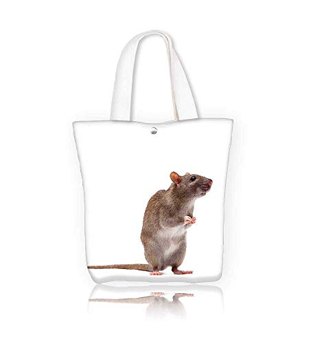 canvas tote bag cute domestic brown rat standing n a tiptoe reusable canvas bag bulk for grocery,shopping  W23xH14xD7 INCH