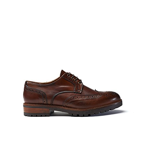 Zapato Con Cordones Derby Con Gorra Marrón Decorativa. Wing Cap Derby Brown. Mujer.