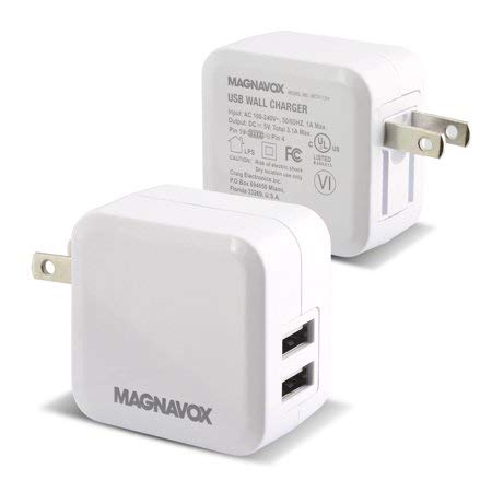 Magnavox USB Wall Charger with Dual Charging Port AC100 - 240V Input Universal Certified Wall Charger
