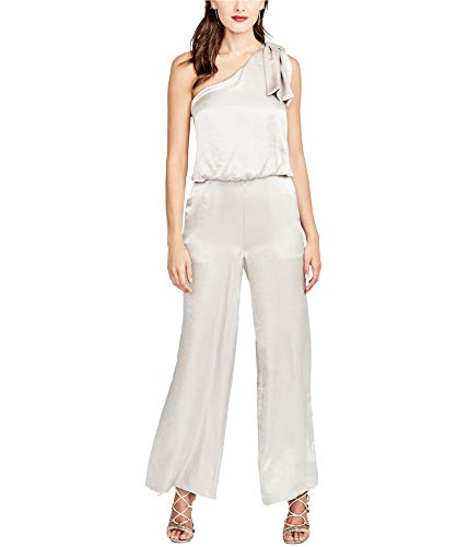 RACHEL Rachel Roy Womens Satin Wide-Leg Jumpsuit Beige 6