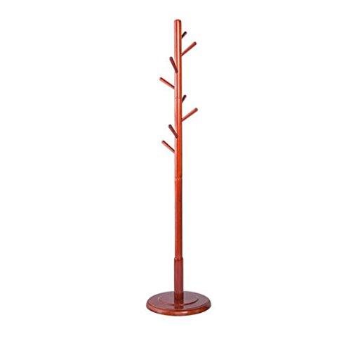 AIDELAI Coat Rack Floor Coat Rack , Solid Wood Hook Hat Shelf Tree Type Disc Bedroom Hanger,(Wine Red/D40H178cm) (Standing Wine Tree Rack)