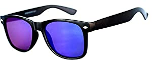 1 Pair Mirrored Reflective Colored Lens Sunglasses Matte Frame Horn Rimmed Style