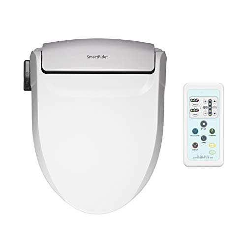 SmartBidet SB-1000 Electric Bidet Seat for Elongated Toilets with Remote Control- Electronic Heated Toilet Seat with Warm Air Dryer and Temperature Controlled Wash Functions (White)